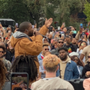 Kanye West performs at Howard University homecoming.